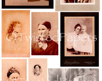 Photos and Cabinet Cards of Women from the 1880s through early 1900s, Digital Collage Sheet, 13-702