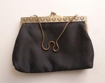 1960's Black Evening Bag - 60's Classic Black Formal Purse - Black Clutch