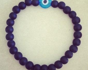 Matte black handmade evil eye bracelet