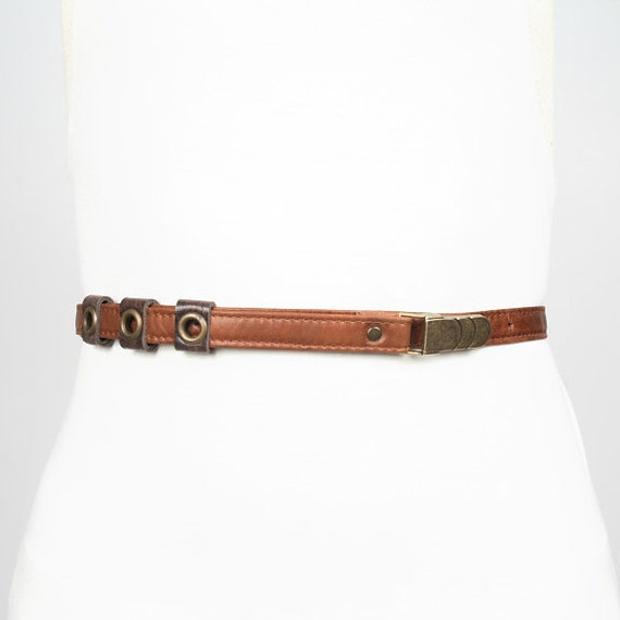 SALE - MIKE - thin leather belt, tie at the waist - tan brown