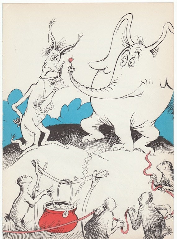 Dr Seuss 1950s Horton Hears a Who 8x11 by AnemoneReadsPaperie