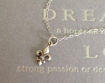 Tiny Sterling Silver Fleur de Lys Necklace, Mothers Necklace, Charm Necklace,  Everyday Necklace, Dainty