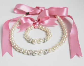 Flower Girl Necklace, pink kids jewelry, wedding gift, girl bracelet, be my flower girl
