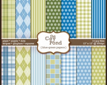 INSTANT DOWNLOAD Blue and Green Digital Papers -- plaid, argyle, dots, stripes, squares, gingham , clipart, clip art, scrapbooking