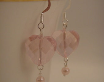 Very Simple, Swarovski Pink Heart Crystal Earrings with 4mm Pink Glass Pearl