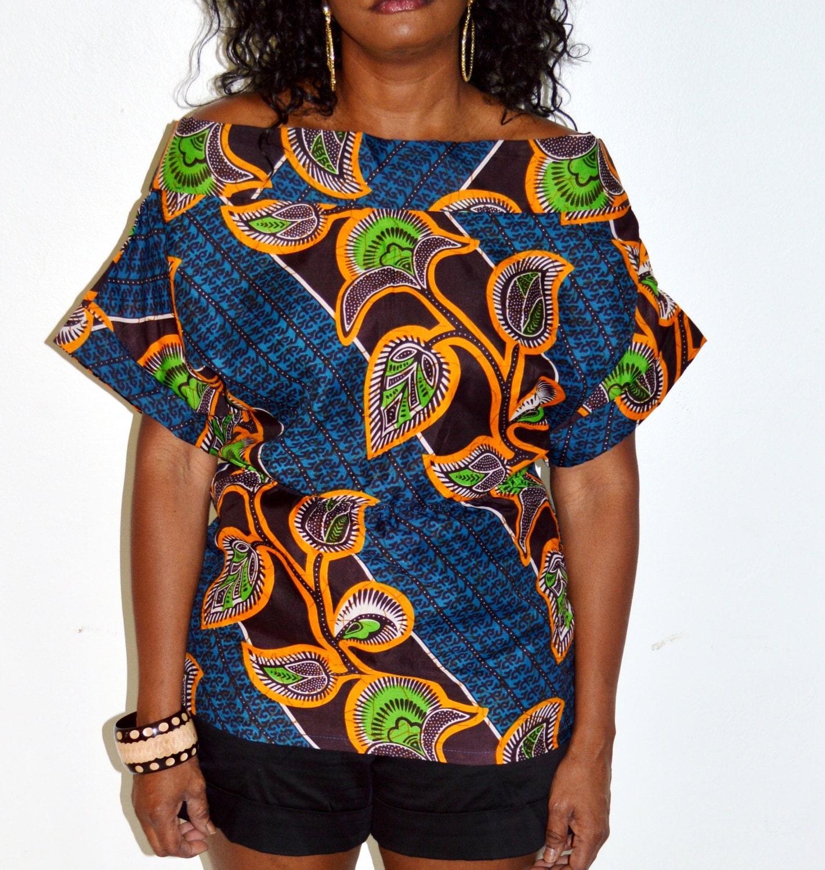 Blue And Orange African Ankara Print Blouse African Print