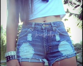 Custom made to order High waisted jeans shorts destroyed shorts by Jeansonly