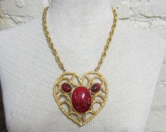 SALE!! 1950s Huge Statement Necklace Rare Designer Signed Hattie Carnegie Heart Pendant Anniversay Present True Love