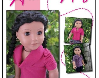 Pixie Faire Artistic Amy The Muse Shirt Doll Clothes Pattern for 18 inch AG Dolls - PDF