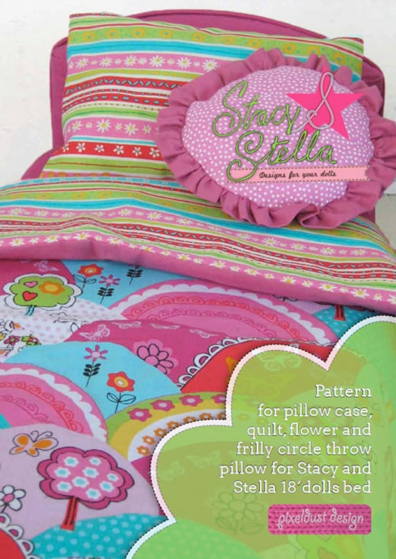Pixie Faire Stacy and Stella Bedding Pattern for the S&S Bed Doll Clothes Pattern for 18 inch American Girl Dolls - PDF
