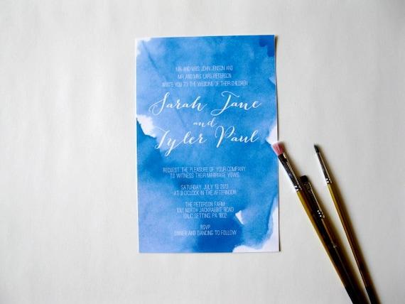 Blue Watercolor Wedding Invitation DIY