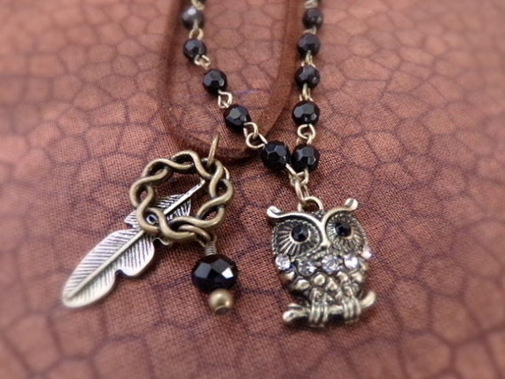 Owl Necklace - Infinity Knot Black Rhinestone and Antique Bronze Owl Pendant - Girlfriend Gift
