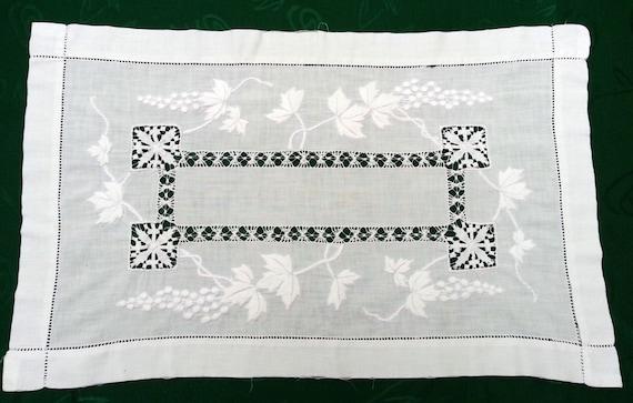 30 s antique blanc chemin de table coton nappe broderie main. Black Bedroom Furniture Sets. Home Design Ideas