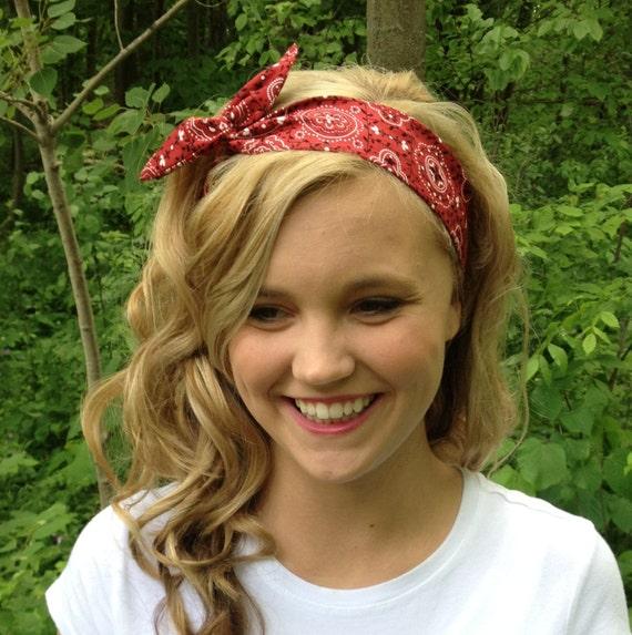 Red Rosie Wired Headband In Bandana Print By Urbanrustsupply