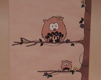 Owl greetings card / birthday card tree and flowers