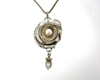Porans, Unique Handcrafted Sterling Silver Necklace, Pendant, Pearl, Design by Poran, Israel