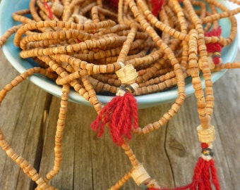 Indian Mala Necklace. Wood Rosary. Ethnic Jewelry. Bohemian Accessories