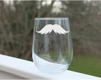 Etched Stemless Mustache wine glass, Wine Glass, Wine Glass, Etched - 17oz, Wine Glasses, stemless wine glass etched, engraved