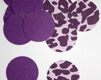 100 Purple & Purple Leopard Print Die Cut Circles, 1 inch, Confetti, Paper Rounds, Wedding, Bachelorette Party, Baby Shower, Bridal Shower