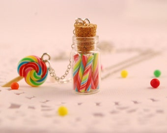 candy cane jar necklace -lollipop necklace- food jewelry
