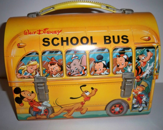 1960s Disney School Bus Lunchbox made by Aladdin Industries Excellent Condition