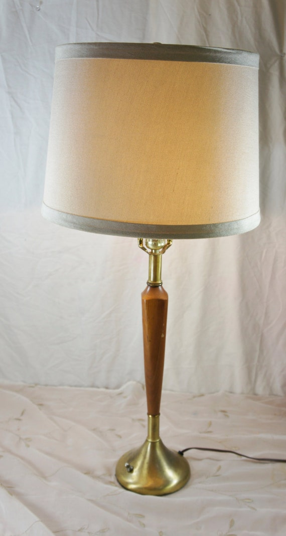 danish modern wooden table lamp with drum shade mid century. Black Bedroom Furniture Sets. Home Design Ideas