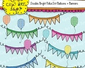 Polka Dot Balloons and Banners Clip Art Collection, balloons, polka dots, clip art, digital clip art, clipart, scrapbooking, graphic design