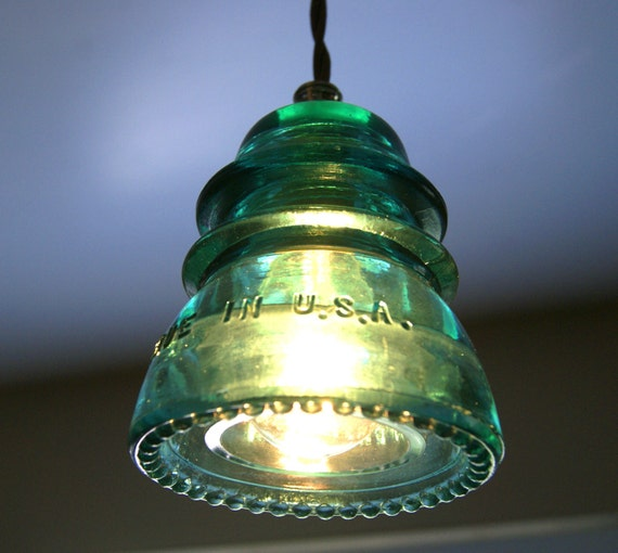 Glass insulator pendant lamp insulator swag light for Antique insulator pendant lights