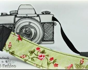 Camera strap, camerastrap, light green, flowers