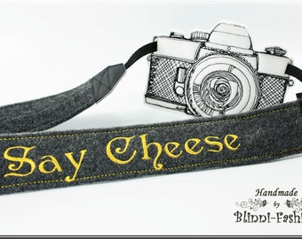 say cheese - Camera strap DSLR, grey, wool