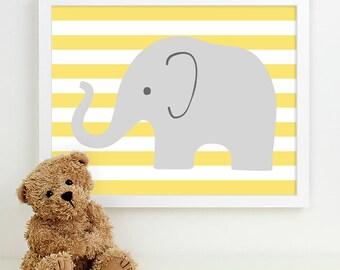 Baby Nursery Art, Safari Animal Nursery Print, Jungle Elephant Children Kids Wall Art Kids Room Playroom Baby Nursery Decor