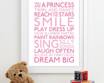 Baby Girl Nursery Art Print nursery decor kids wall art children nursery print baby gift typography poster Subway Playroom Rules Sign