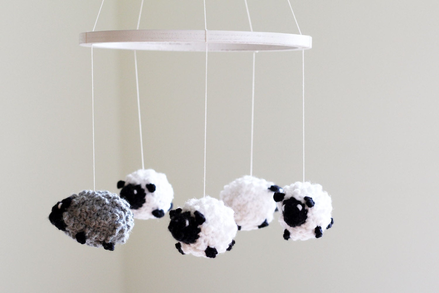 baby crib mobile crochet sheep mobile nursery decor by lalaka. Black Bedroom Furniture Sets. Home Design Ideas