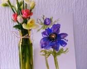 Original flower watercolor painting - flower art