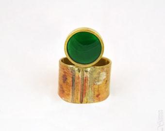 Troisième oeil - Bague ronde verte dorée réglable