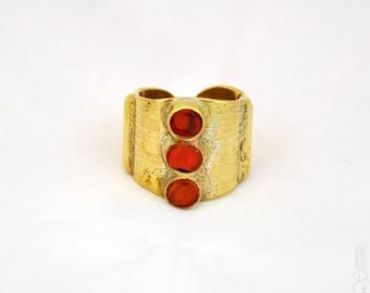 Trilogie - Bague ronde orange dorée réglable