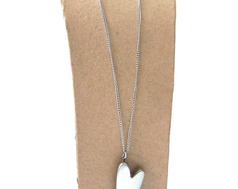 Long Heart Pendant and Necklace Made From Upcycled Stainless Steel Metal.