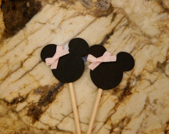 12 Minnie Mouse Cupcake Topper w/ Pink Ribbon