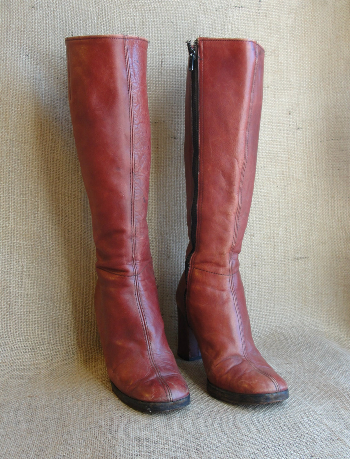 burgundy knee high go go boots size 7 by dreamersvintage