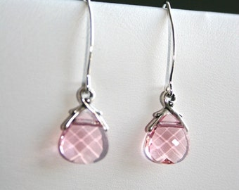 Pink briolette crystal earrings