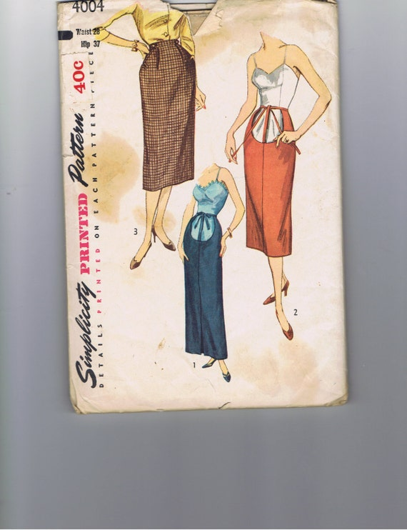 1950s Maternity Pencil skirt  Simplicity 4004, Waist 28