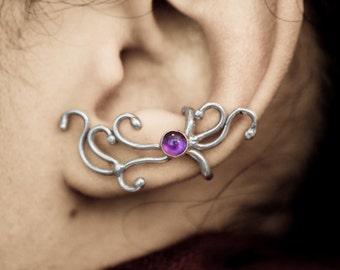 Enchanted Grace - Sterling Silver Amethyst Ear Cuff Wrap