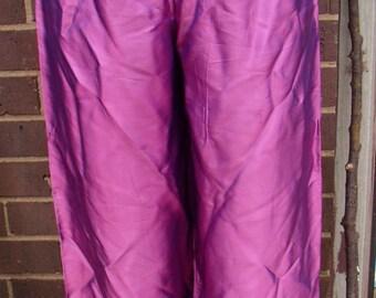Vintage Purple Silk Asian Pants