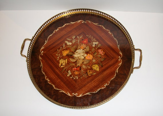 Large Marquetry Inlaid Wood & Brass Serving Tray with Flowers