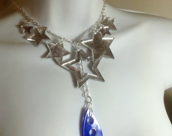 laser cut 'reach for the stars' funky perspex necklace