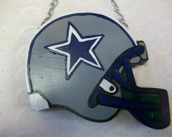 Handmade Wood Dallas Cowboys Football Helmet Wall Hanging