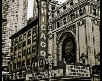 The Chicago Theater: 8x10 Black & White, Sepia Architectural Beauty - Intense Contrast Original Photograph