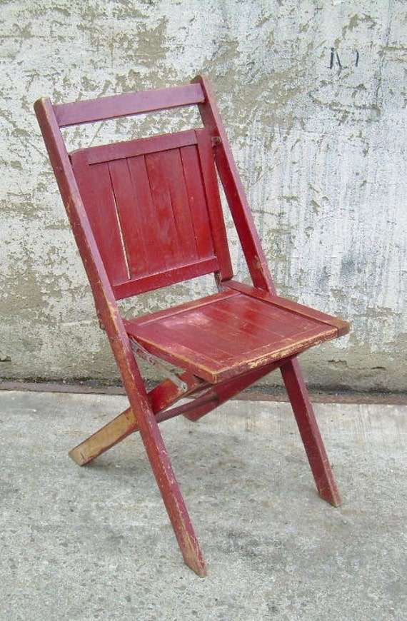 vintage wood folding chair burgundy rustic by