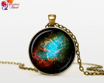 GALAXY Necklace Nebula Pendant  Galaxy Nebula Necklace Crab Nebula  Turquoise White Jewelry Necklace for him  Art Gifts for