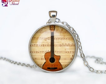 Guitar necklace Guitar pendant Guitar jewelry Music necklace Hipster jewelry